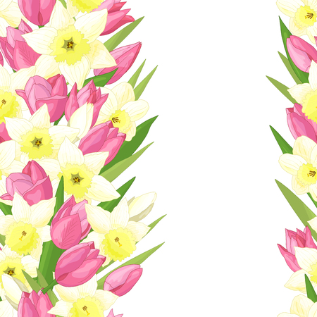Seamless pattern with spring flowers: pink tulips and yellow daffodils on white background Standard-Bild - 124639867