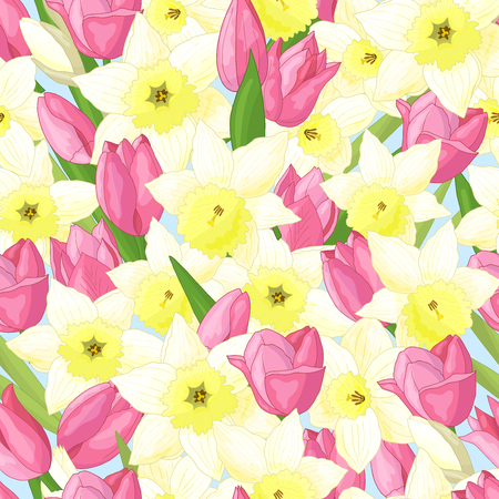 Vector abstract seamless pattern with spring flowers: beautiful pink tulips and white daffodils Standard-Bild - 124639868