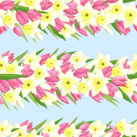 Seamless pattern with spring flowers: pink tulips and yellow daffodils on blue background Illustration