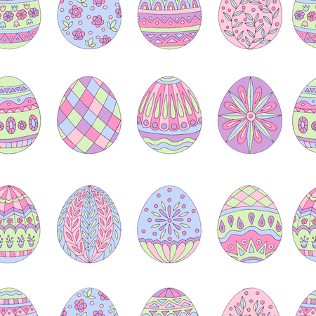 Colorful beautiful seamless pattern of painted Easter eggs on white background Standard-Bild - 124518338