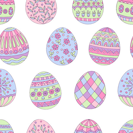 Colorful beautiful seamless pattern of painted Easter eggs on white background Standard-Bild - 124518339