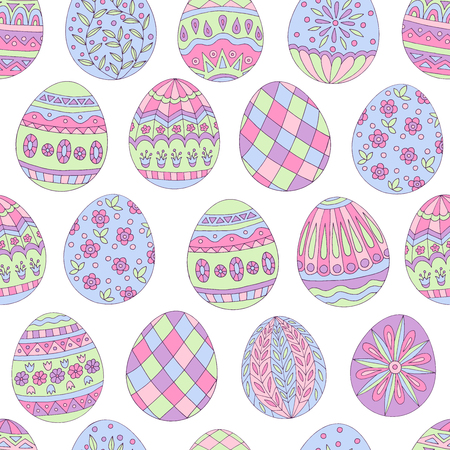Colorful beautiful seamless pattern of painted Easter eggs on white background Standard-Bild - 124518340