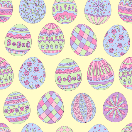 Colorful beautiful seamless pattern of painted Easter eggs on yellow background Standard-Bild - 124518341