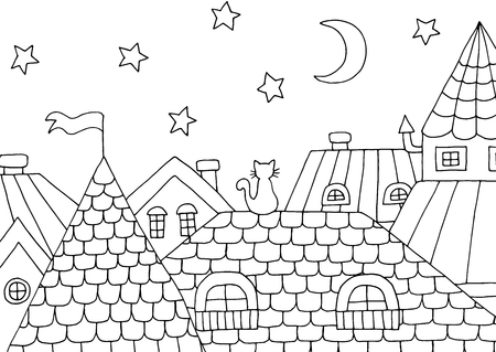 Hand drawn coloring page for adults and children with a cat on the roof at night under the moon