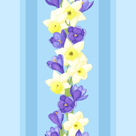 Seamless pattern with spring flowers: daffodils and crocuses on blue background Standard-Bild - 124395714