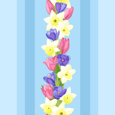 Seamless pattern with spring flowers: daffodils, tulips and crocuses on blue background Standard-Bild - 124395715