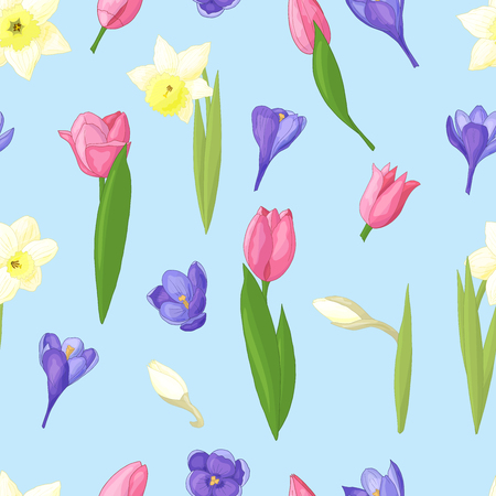 Seamless pattern of spring flowers: daffodils, tulips and crocuses on blue background Standard-Bild - 124395717