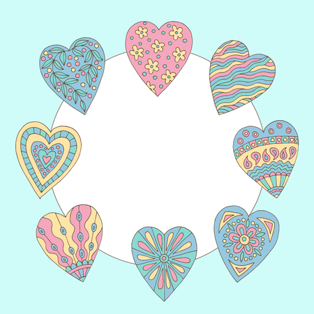 A beautiful frame with a painted doodle hearts on blue background Standard-Bild - 124356913