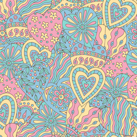 Abstract seamless background of beautiful painted doodle hearts Standard-Bild - 124356914