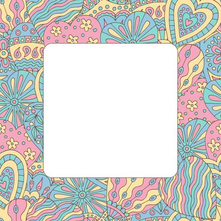 Square frame with abstract background of painted doodle hearts Standard-Bild - 124356915
