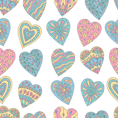 Seamless background of beautiful painted doodle hearts on white background Standard-Bild - 124356917