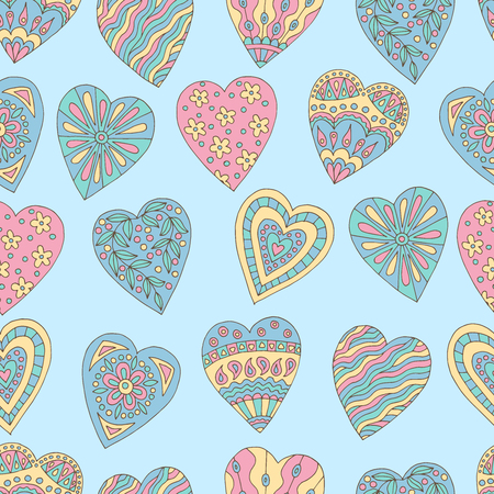 Seamless background of beautiful painted doodle hearts on blue background Standard-Bild - 124356918