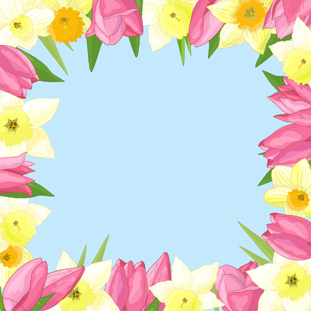 Vector frame of spring flowers: tulips and daffodils on blue background Standard-Bild - 124320065