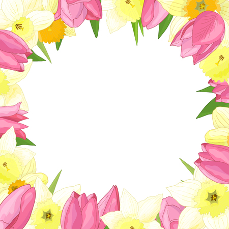 Vector frame of spring flowers: tulips and daffodils on white background Standard-Bild - 124320066