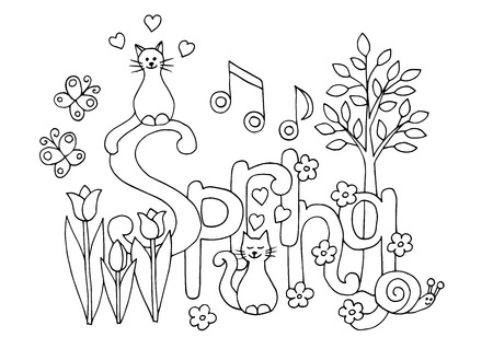 Hand drawn coloring page for adults and children on spring theme: flowers, cats, hearts, young tree, snail, music, butterflies Standard-Bild - 124320067