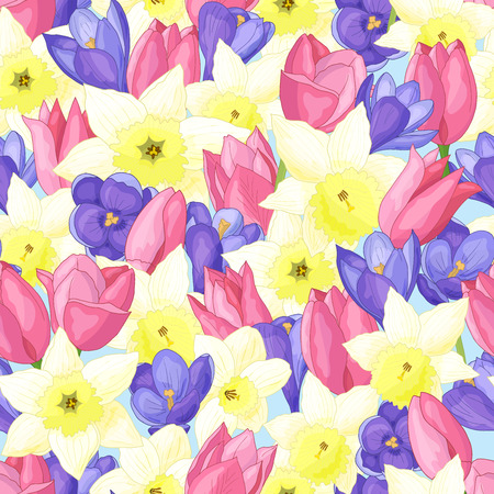 Seamless pattern of spring flowers: daffodils, tulips, crocuses Standard-Bild - 124320068