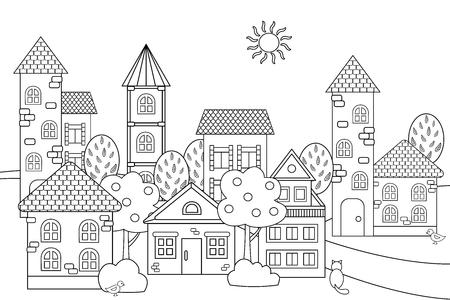 Paysage de vecteur avec maisons et tourelles pour cahier de coloriage