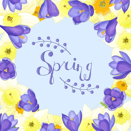 Beautiful frame of spring flowers: yellow daffodils and purple crocuses