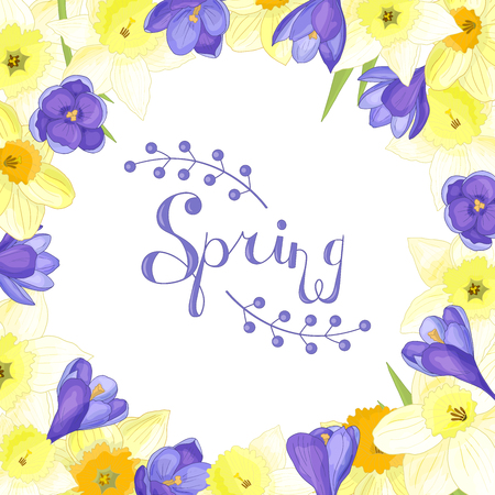Beautiful frame of spring flowers: yellow daffodils and purple crocuses  イラスト・ベクター素材