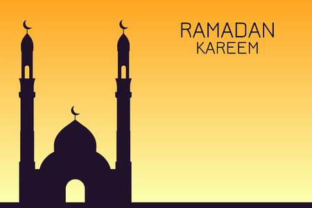 The silhouette of the mosque against the golden sunset, Ramadan Kareem  イラスト・ベクター素材