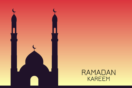 The silhouette of the mosque against the sunset, Ramadan Kareem
