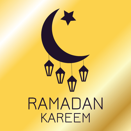 Silhouette of a crescent moon with lanterns on a golden background, Ramadan Kareem greeting card Illustration