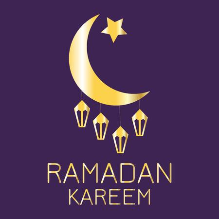 Golden silhouette of a crescent moon with lanterns on a dark purple background, Ramadan Kareem greeting card Illustration