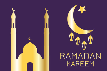 Golden silhouette of mosque and crescent with lanterns on dark purple background, Ramadan Kareem, greeting card Illustration