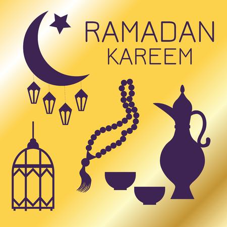 Silhouettes of Eastern objects: Crescent moon , lanterns, jug, prayer beads on a gold background, Ramadan Kareem, greeting card Illustration