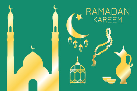 Golden silhouettes of Eastern objects: mosque, Crescent, lanterns, jug, bowls, prayer beads, on a green background, Ramadan Kareem, greeting card