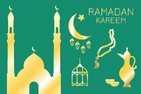 Golden silhouettes of Eastern objects: mosque, Crescent, lanterns, jug, bowls, prayer beads, on a green background, Ramadan Kareem, greeting card Foto de archivo - 121643775