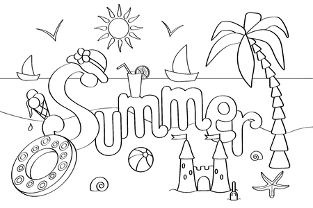Vector coloring page on the theme of summer holidays at sea, for children and adults: palm, sea, ice cream, ball and more