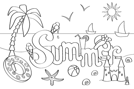 Vector coloring page on the theme of summer holidays at sea, for children and adults: palm, sea, ice cream, ball and more Standard-Bild - 125735566