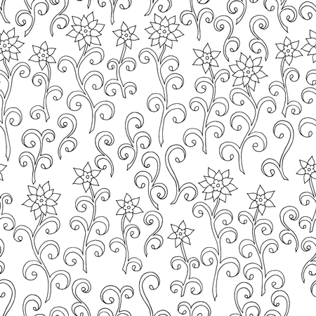 Abstract seamless pattern of doodle flowers, coloring page for kids and adults Standard-Bild - 125735628