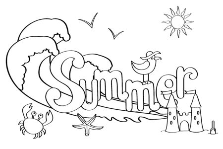 Hand drawn coloring page for adults and children on summer theme: seagull, starfish, sea, crab, sand castle, waves, sun