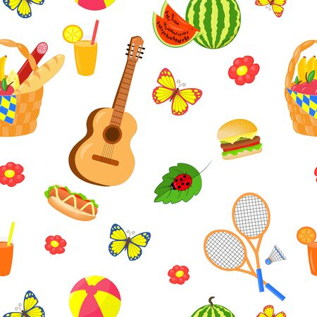 seamless pattern with summer picnic set with food and outdoor entertainment on white background Standard-Bild - 125735675