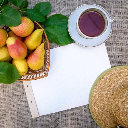 Square frame with ripe yellow-red tasty pears, tea cup , hat and paper sheet, with copy space Standard-Bild - 125735693