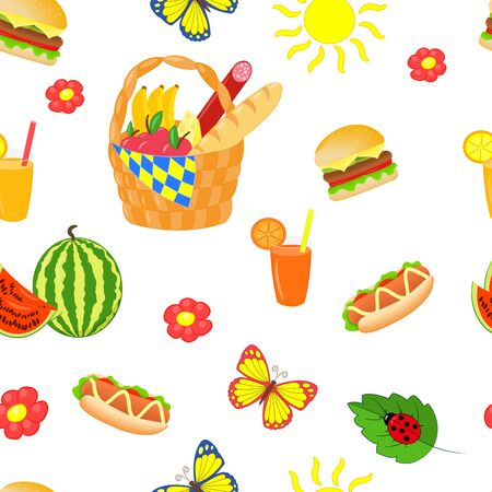 Vector seamless pattern with bright beautiful set for summer picnic on white background Standard-Bild - 125090181