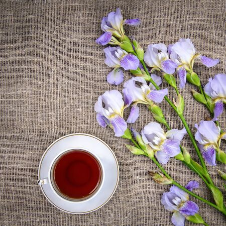 Beautiful purple flowers irises and a cup of tea on a gray canvas background, top view Standard-Bild - 125735745