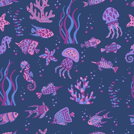 Cute abstract seamless pattern with sea fish, starfish, coral, seahorse, jellyfish, seaweed on dark blue background Standard-Bild - 127667916