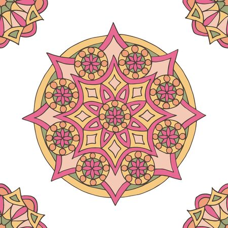 Abstract seamless pattern of hand-drawn mandalas in beautiful colors on white background Standard-Bild - 127655701