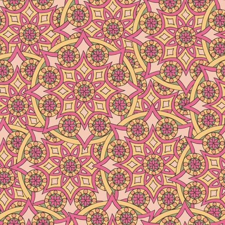 Abstract seamless pattern of hand-drawn mandalas in beautiful colors Standard-Bild - 127655706
