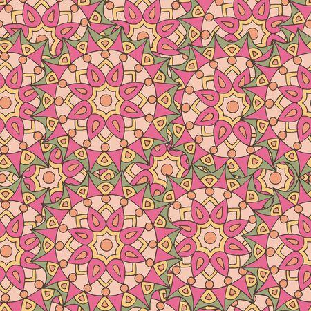 Abstract seamless pattern of hand-drawn mandalas in beautiful colors Standard-Bild - 127655709