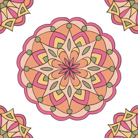 Abstract seamless pattern of hand-drawn mandalas in beautiful colors on white background Standard-Bild - 127655712
