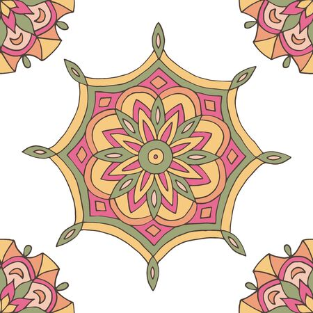 Abstract seamless pattern of hand-drawn mandalas in beautiful colors on white background Standard-Bild - 127655713