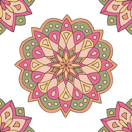 Abstract seamless pattern of hand-drawn mandalas in beautiful colors on white background Standard-Bild - 127655714