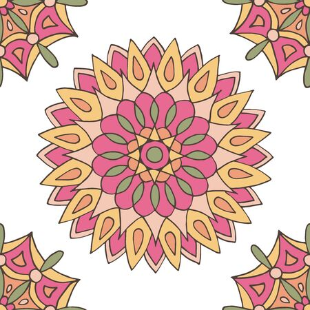 Abstract seamless pattern of hand-drawn mandalas in beautiful colors on white background Standard-Bild - 127655716