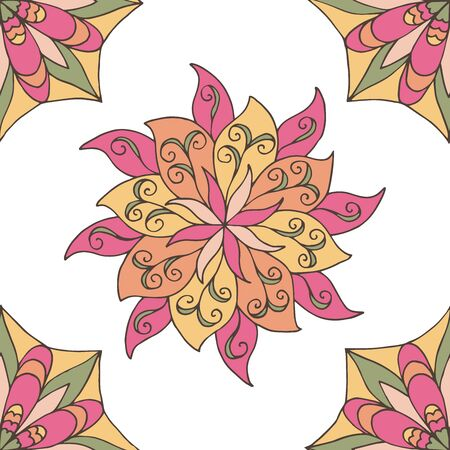Abstract seamless pattern of hand-drawn mandalas in beautiful colors on white background Foto de archivo - 127655717