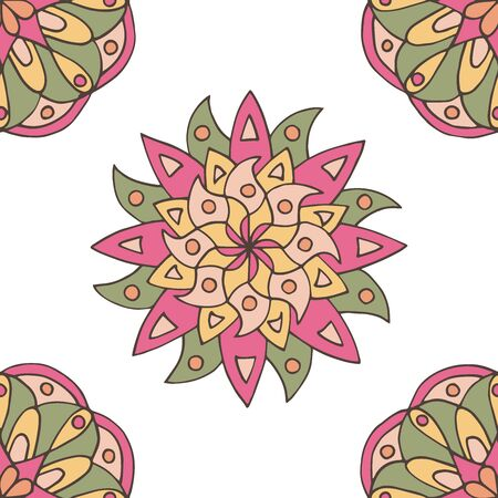 Abstract seamless pattern of hand-drawn mandalas in beautiful colors on white background Standard-Bild - 127655721