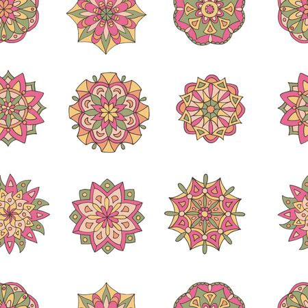 Abstract seamless pattern of hand-drawn mandalas in beautiful colors on white background Standard-Bild - 127655724